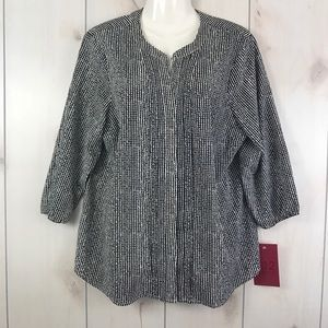 212 Collection Black & White 3/4 Sleeve Blouse XL